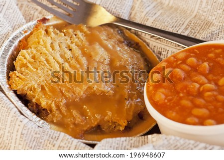 British shepherd's pie and baked beans