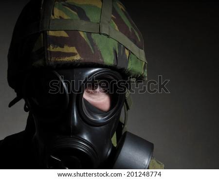 British Soldier With Respirator - stock photo
