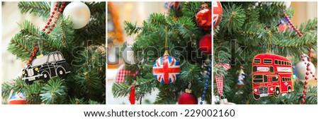 British style christmas tree decoration collage - stock photo