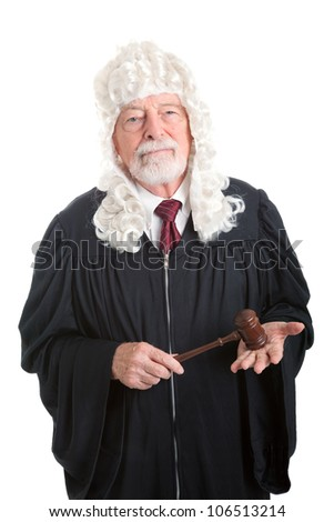 British style judge wearing a wig.  Isolated on white. - stock photo