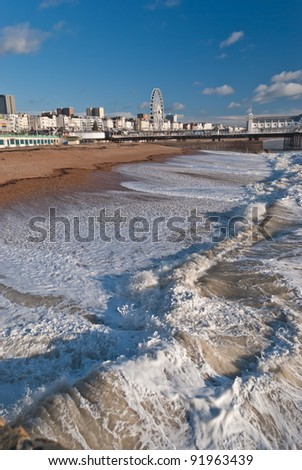 British town of Brighton seen from the pier . - stock photo