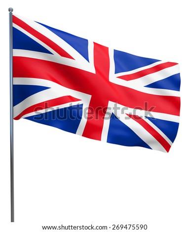 British UK Union Jack flag waving. Isolated on white. - stock photo