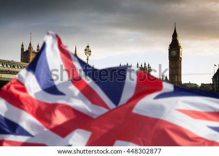British union jack flag and Big Ben Clock Tower and Parliament house at city of westminster in the background - Brexit