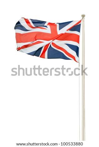 british union jack flag on a pole isolated on white background - stock photo
