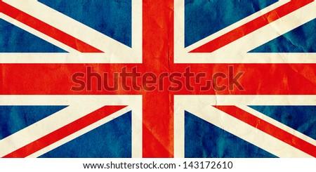British Union Jack flag on old textured paper. - stock photo