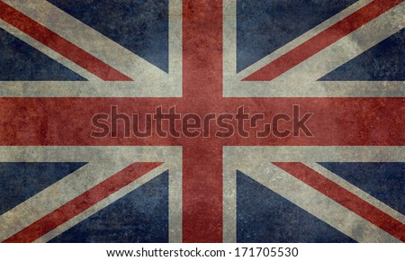 British Union Jack flag Vintage version, scale 3:5 - stock photo