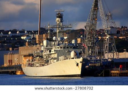 british warship in the harbor - stock photo