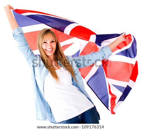 British woman holding the Jack Union flag - isolated over white - stock photo