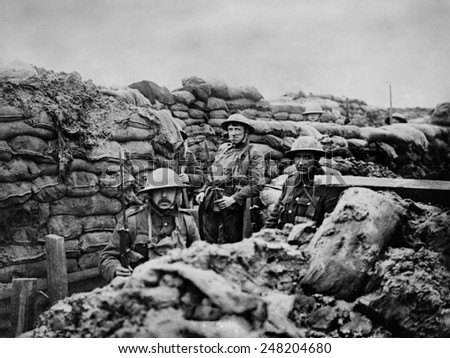 British World War 1 soldiers in a front Line trench. 1915-18. - stock photo