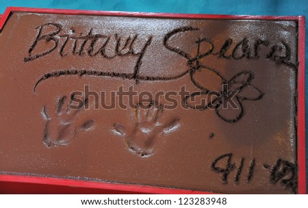 Britney Spears' Handprints at Grauman's Chinese Theatre, Hollywood, where the judges for X Factor USA were honored. September 11, 2012  Los Angeles, CA Picture: Paul Smith - stock photo