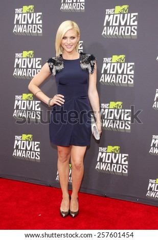 Brittany Snow at the 2013 MTV Movie Awards held at the Sony Pictures Studios in Los Angeles, United States, 14/04/13.  - stock photo
