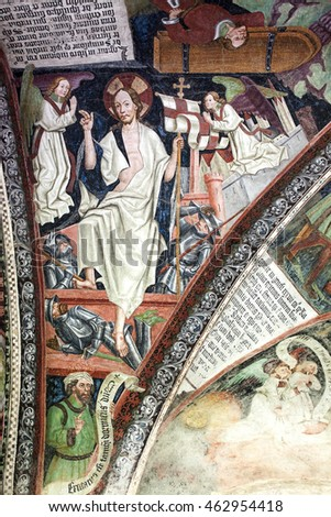 Brixen/Bressanone, Italy - July 22, 2016: Resurrection scene is one of the 14th-15th century Gothic frescos on the ceiling of the Cathedral cloister