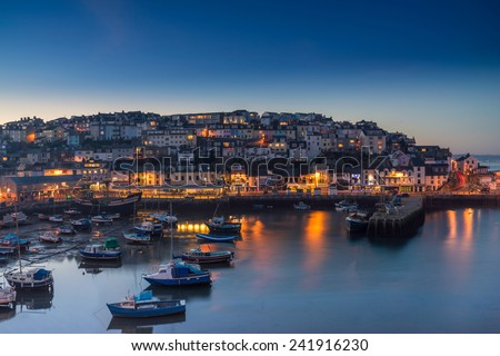 Brixham at sunset - stock photo