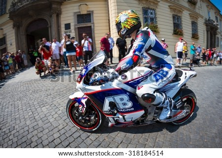 BRNO, CZ - AUGUST 13: Karel Abraham of AB Motoracing MotoGP team during a lap of honour ahead of the Czech Republic Grand Prix on August 13, 2015 in Brno, Czech Republic.