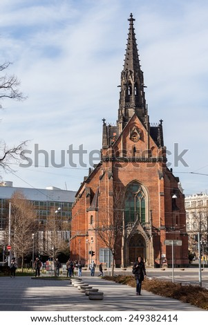 BRNO, CZECH REPUBLIC - APRIL 10: A Church near the Liberty Square in the city centre Brno on April 10, 2012. Brno is the second largest city in the Czech Republic. - stock photo