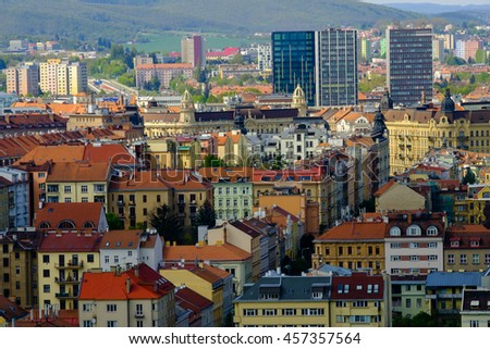 Brno, Czech Republic - April 29, 2016: Aerial view of old city at sunny day from Spilberk castle