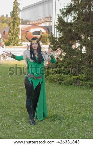 BRNO, CZECH REPUBLIC - APRIL 30, 2016: Cosplayer dressed as the character Lady Loki from The Avengers poses at Animefest, anime and manga convention on April 30, 2016 Brno in the Czech Republic