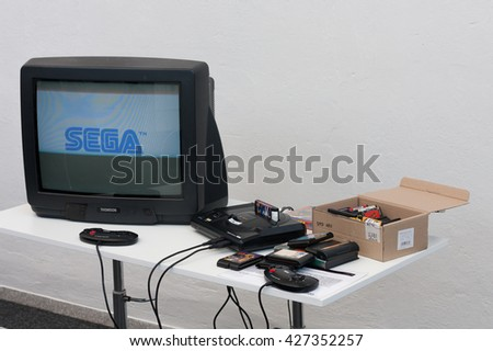 BRNO, CZECH REPUBLIC - APRIL 30, 2016: Gaming console with television at Animefest, anime convention on April 30, 2016 Brno, Czech Republic