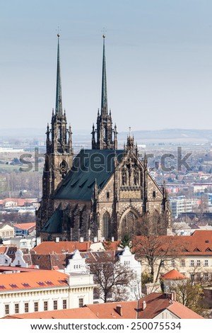BRNO, CZECH REPUBLIC - APRIL 10: Park Denisovy Sady near the St. Peters and Paul church in Brno on April 10, 2012. Brno is the second largest city in the Czech Republic. - stock photo