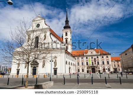BRNO, CZECH REPUBLIC - APRIL 10: St. Thomas Church near the liberty square in Brno on April 10, 2012. Brno is the second largest city in the Czech Republic. - stock photo