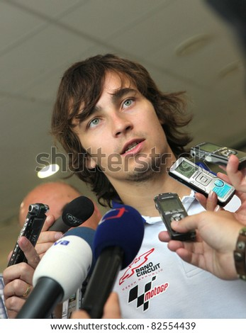 BRNO, CZECH REPUBLIC, AUGUST 10: Czech MotoGP rider Karel Abraham on press conference of Brno circuit on August 10, 2011, in Brno, Czech republic.