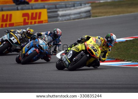 BRNO - CZECH REPUBLIC, AUGUST 16: Spanish Honda Moto2 rider Alex Rins finishes third at 2015 Bwin MotoGP of Czech Republic at Brno circuit on August 16, 2015