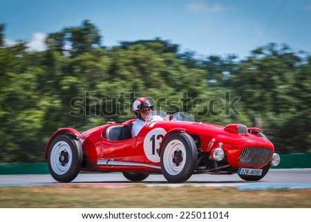 BRNO, CZECH REPUBLIC - JULY 6, 2014: Josef Mrazek behind the wheel of JISKRA 2 formula car during BrnoGP Historic Czech Formula Exhibition.