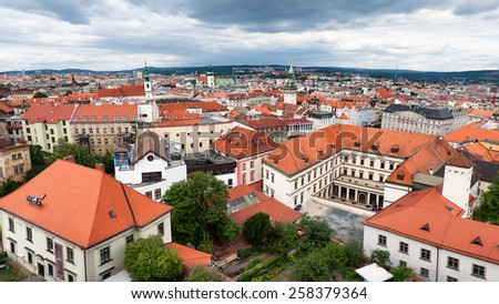 Brno, Czech Republic - July 2012 - Skyline of Brno city, second largest city in Czech Republic - stock photo