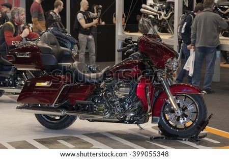 BRNO, CZECH REPUBLIC-MARCH 4,2016: Motorcycle Harley Davidson Touring Ultra Limited Low  at  International Fair for Motorcycles on March 4,2016 in Brno in Czech Republic  - stock photo