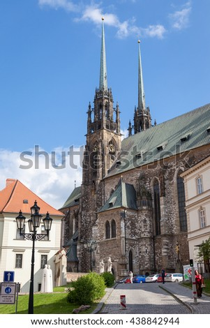 BRNO, CZECH REPUBLIC - MAY 11, 2016: The Cathedral of Saints Peter and Paul is located on the Petrov hill in the centre of the city of Brno in the Czech Republic.
