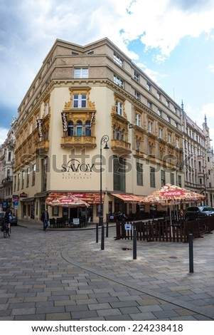 BRNO, CZECH REPUBLIC - MAY 8: View of a street in Brno, Czech Republic on May 8, 2014. Brno is the second largest city in the Czech Republic. - stock photo
