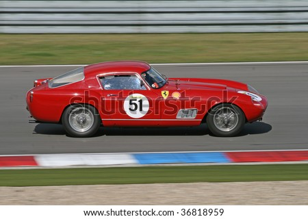 BRNO - SEPTEMBER 6: An unidentified driver in action at Shell Ferrari Historic Challenge at Ferrari Racing Days September 6, 2009 in Brno, Czech Republic . - stock photo