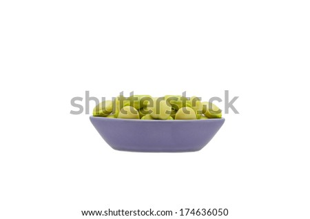 Broad Bean also known as bell bean, faba / fava bean isolated on white background - stock photo