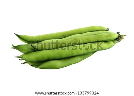 broad bean pods and beans on white background .  with a clipping path - stock photo
