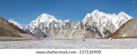 Broad Peak and Vigne Glacier Panorama, Karakorum, Pakistan - stock photo