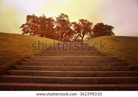 Broad stone steps going up a hill. - stock photo