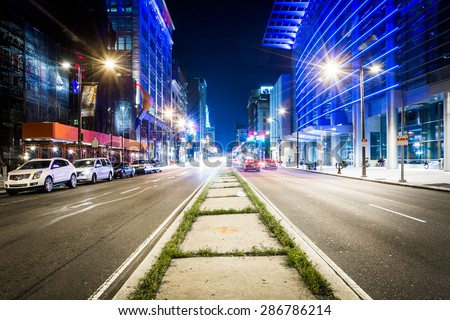 Broad Street at night, in Center City, Philadelphia, Pennsylvania. - stock photo