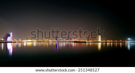 Broad view of Bahrain skyline, HDR