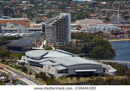 BROADBEACH, AUS - NOV 14 2014:Aerial view of the Gold Coast Convention and Exhibition Center.It caters for up to 6,000 people, specialising in all events such as corporate and international events.