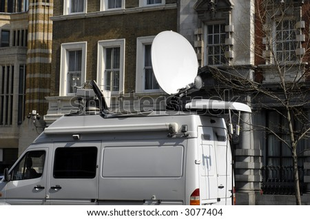Broadcast Car with Satellite Dish