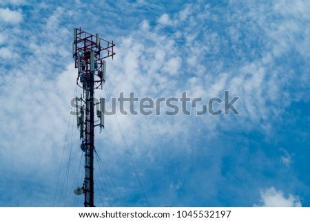 Broadcast pole and Telephone transceiver with blue sky.Public loudspeakers broadcast