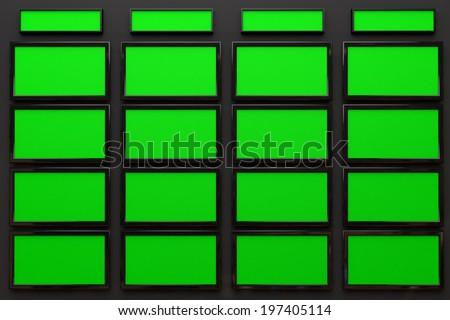 Broadcast Studio Interior with Green Screen - High Tech Videowall Presentation Concept - stock photo