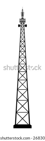 Broadcasting antenna on white background. - stock photo