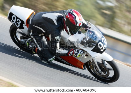 BROADFORD, VICTORIA/AUSTRALIA - APRIL 1, 2016: Classic bikes practice at Broadford Racetrack before the 2016 Shannons Victorian Historic Road Racing Championship.