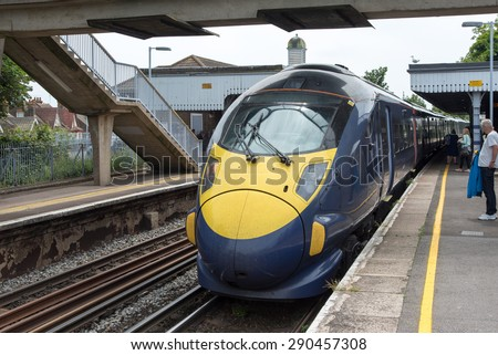 BROADSTAIRS, KENT, UK - 20 JUN 2015: A Southeastern High Speed Javelin Electric Multiple Unit at Broadstairs Station.  These trains provide a fast commuter service from East Kent to London. - stock photo