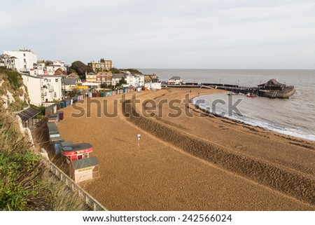 BROADSTAIRS, UK - JAN 7, 2015. A channel is dug in the sand on Viking Bay to protect the beach from erosion. Broadstairs is a coastal town on the Isle of Thanet in  Kent.  - stock photo