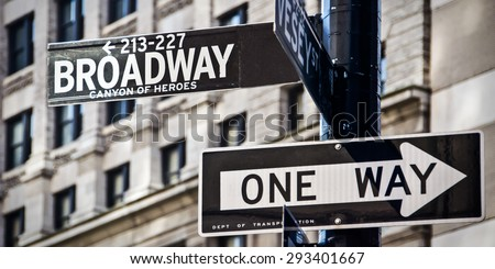 Broadway and one way direction signs, New York City, USA