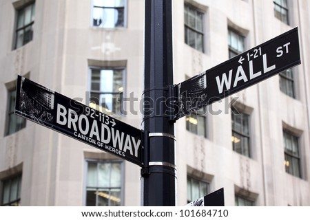 Broadway and Wall Street Signs, Manhattan, New York