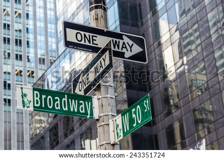 Broadway street sign near Time square in New York City - stock photo