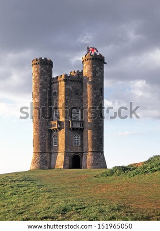 Broadway Tower mock castle folly and Union Flag on a Cotswold hill in Worcestershire - stock photo